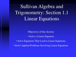 Sullivan Algebra and Trigonometry: Section 1.1 Linear Equations