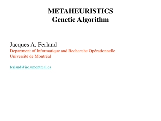 METAHEURISTICS Genetic Algorithm