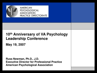 10 th  Anniversary of VA Psychology Leadership Conference