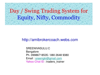 Day / Swing Trading System for  Equity, Nifty, Commodity
