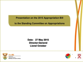 Presentation on the 2015 Appropriation Bill to the Standing Committee on Appropriations