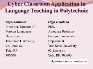 Cyber Classroom Application in Language Teaching in Polytechnic