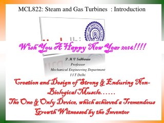 MCL822: Steam and Gas Turbines  : Introduction
