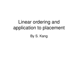 Linear ordering and application to placement