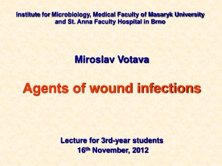 Miroslav Votava Agents of wound infections  Lecture for 3rd-year students 16 th  November, 20 1 2