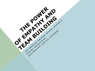 The Power of Empathy AND TEAM BUILDING