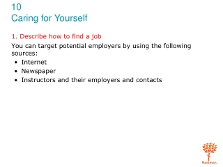 1. Describe how to find a job