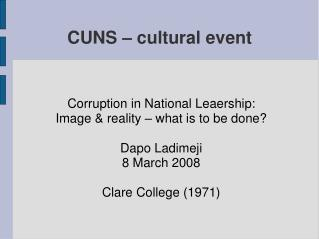 CUNS – cultural event