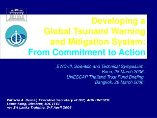 Developing a  Global Tsunami Warning and Mitigation System: From Commitment to Action