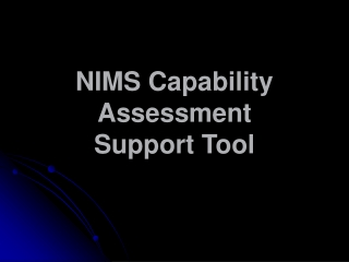 NIMS Capability Assessment  Support Tool