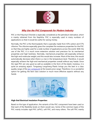 Why Use the PVC Compounds for Modern Industry