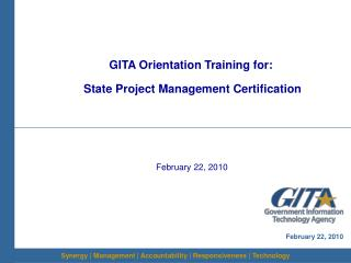 GITA Orientation Training for:  State Project Management Certification