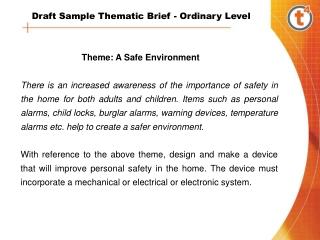 Theme: A Safe Environment
