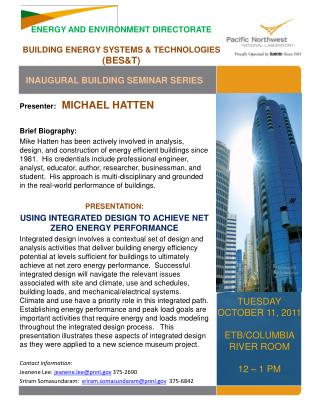 ENERGY AND ENVIRONMENT DIRECTORATE  BUILDING ENERGY SYSTEMS  TECHNOLOGIES BEST