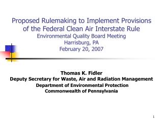 Federal Clean Air Interstate Rule