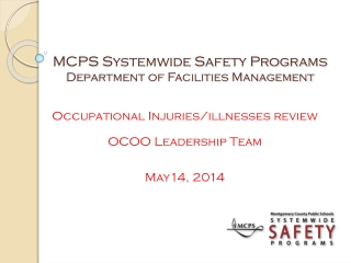 MCPS Systemwide Safety Programs Department of Facilities Management