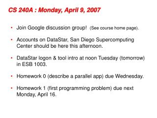 CS 240A : Monday, April 9, 2007