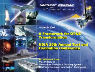 A Framework for OT&E Transformation  NDIA 20th Annual Test and Evaluation Conference
