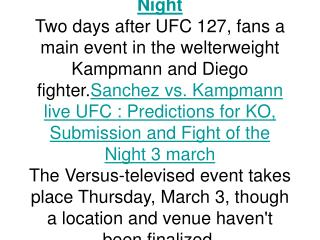 UFC Sanchez vs. Kampmann: Predictions for KO