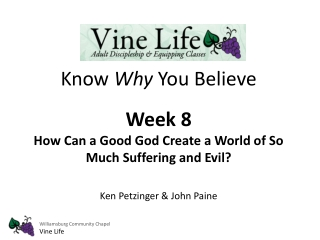 Know  Why  You Believe Week 8  How Can a Good God Create a World of So Much Suffering and Evil?