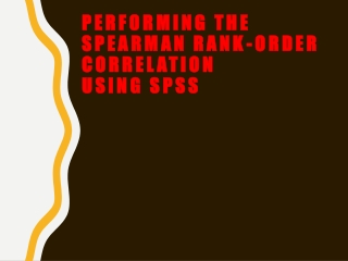 Performing the Spearman Rank-Order Correlation Using SPSS