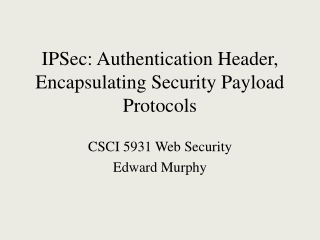 IPSec: Authentication Header, Encapsulating Security Payload Protocols