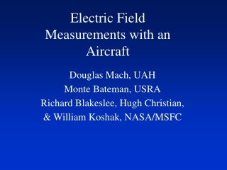 Electric Field Measurements with an Aircraft
