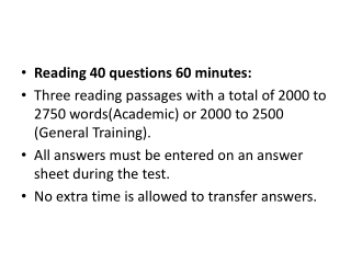 Reading 40 questions 60 minutes: