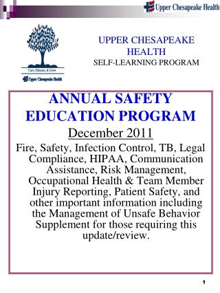 UPPER CHESAPEAKE  HEALTH SELF-LEARNING PROGRAM