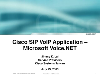 Cisco SIP VoIP Application – Microsoft Voice.NET