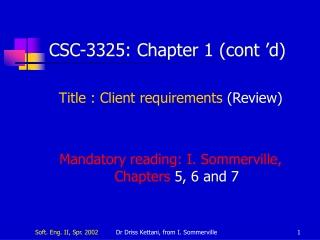 CSC-3325:  Chapter  1 (cont'd)