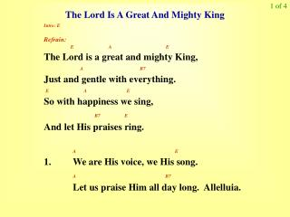 The Lord Is A Great And Mighty King