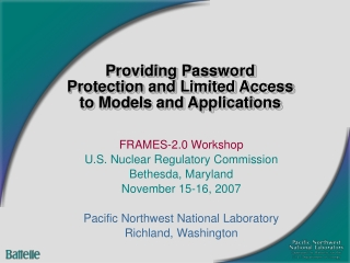 Providing Password Protection and Limited Access to Models and Applications