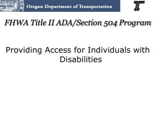 FHWA Title II ADA/Section 504 Program