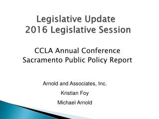 Legislative Update 2016 Legislative Session