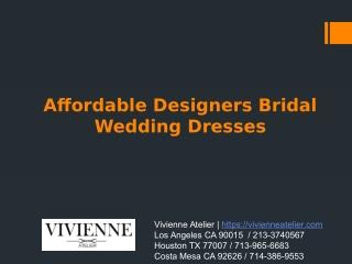 Affordable Designers Bridal Wedding Dresses