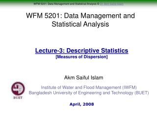 WFM 5201: Data Management and Statistical Analysis