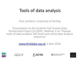 Tools of data analysis