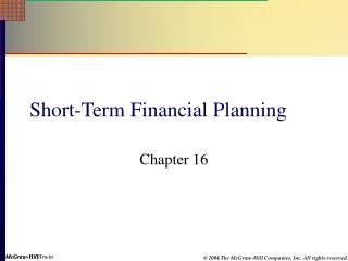 Short-Term Financial Planning