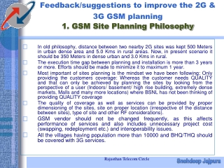 Feedback/suggestions to improve the 2G & 3G GSM planning 1. GSM Site Planning Philosophy