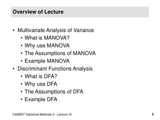 Overview of Lecture
