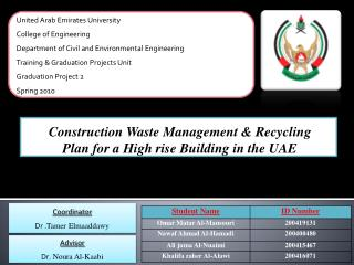 Construction Waste Management & Recycling Plan for a High rise Building in the UAE