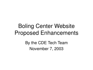 Boling Center Website Proposed Enhancements