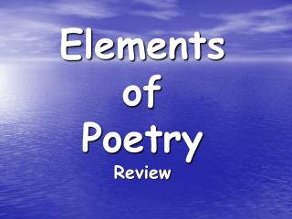 Elements  of  Poetry Review