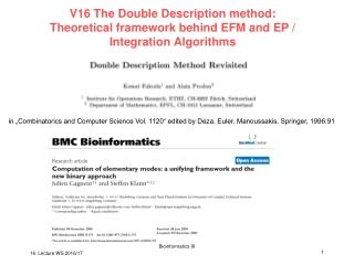 Double Description Method (1953)