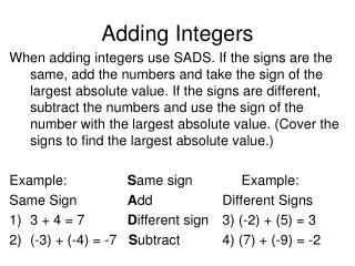 Adding Integers