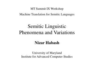 Semitic Linguistic  Phenomena and Variations