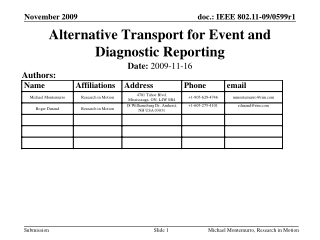 Alternative Transport for Event and Diagnostic Reporting