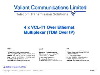 4 x VCL-T1 Over Ethernet  Multiplexer (TDM Over IP)
