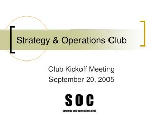 Strategy & Operations Club